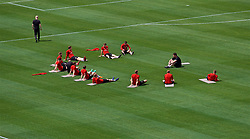 LOS ANGELES, USA - Sunday, May 27, 2018: Wales players during a training session at the Rose Bowl ahead of the International friendly match against Mexico. (Pic by David Rawcliffe/Propaganda)