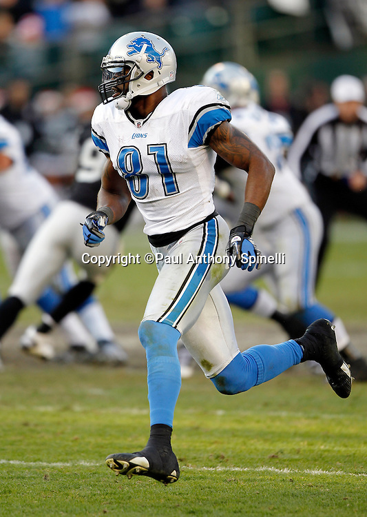 Detroit Lions wide receiver Calvin Johnson (81) goes out for a pass during the NFL week 15 football game against the Oakland Raiders on Sunday, December 18, 2011 in Oakland, California. The Lions won the game 28-27. ©Paul Anthony Spinelli
