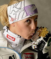 16.02.2013, Planai, Schladming, AUT, FIS Weltmeisterschaften Ski Alpin, Slalom, Damen, Medaillen Praesentation, im Bild Silbermedaillen Gewinnerin Michaela Kirchgasser (AUT) posiert mit ihren WM Medaillen // Michaela Kirchgasser of Austria poses with her Silver and Gold Medal during Womens Slalom Medal Presentation at the FIS Ski World Championships 2013 at the .Planai Course, Schladming, Austria on 2013/02/16 ***** ACHTUNG: VERÖFFENTLICHUNGS- SPERRFRIST 18:30 Uhr ***** Bild bei redaktioneller Verwendung honorarfrei// ***** PLEASE NOTE: Publication EMBARGO 18:30 .clock *****. EXPA Pictures © 2013, PhotoCredit: EXPA/ Erich Spiess