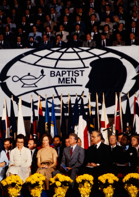President Jimmy Carter addresses a gathering of Southern Baptist Men at a faith based conference in Atlanta, GA. <br />