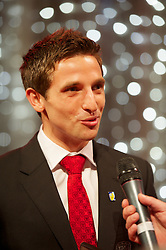 CARDIFF, WALES - Monday, October 8, 2012: Wales' Joe Allen receives the Club Player of the Year award during the FAW Player of the Year Awards Dinner at the National Museum Cardiff. (Pic by David Rawcliffe/Propaganda)