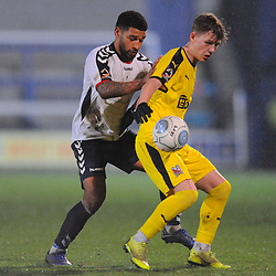 TELFORD COPYRIGHT MIKE SHERIDAN 5/3/2019 - Ellis Deeney of AFC Telford battles for the ball with Mitchell Glover of Darlington during the National League North fixture between AFC Telford United and Darlington at the New Bucks Head Stadium