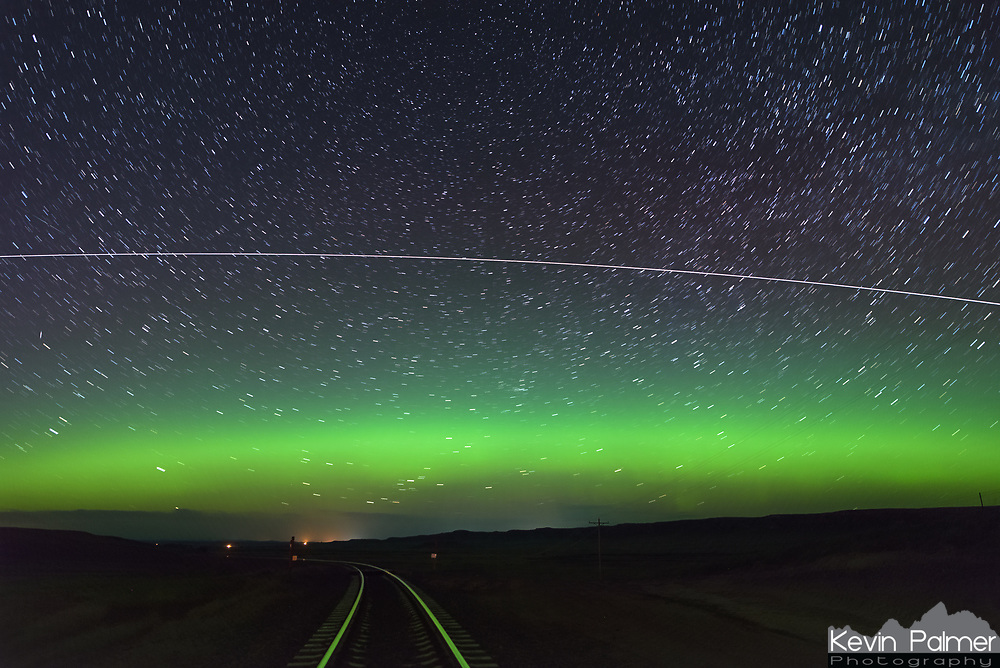 While the aurora was out, the International Space Station passed by to the north. The station orbits 250 miles above the earth at 17,000 MPH and circles the earth every 90 minutes.