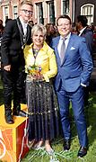 Koningsdag 2018 in Groningen / Kingsday 2018 in Groningen.<br /> <br /> Op de foto: Prinses Laurentien en Prins Constantijn