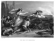 Pensinular War: Siege of Saragossa (Zaragoza) 16 June - 13 August 1808. Maria Augustin, Maid of Sarogossa, encouraging fellow citizens to re-man battery and resume firing on French beseigers under General Lefebre. Engraving after David Wilkie