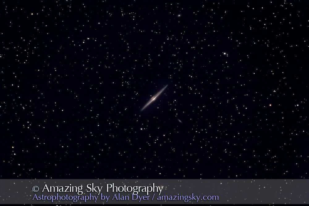 NGC 4565, Taken April 22, 2006 with 5-inch apo refractor at f/4.5 and Canon 20Da camera at ISO400. Four 10-minute exposures average-stacked.