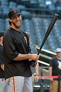 PHOENIX, AZ - APRIL 04:  Madison Bumgarner #40 of the San Francisco Giants smiles during batting practice prior to the game against the Arizona Diamondbacks at Chase Field on April 4, 2017 in Phoenix, Arizona. The San Francisco Giants won 8-4.  (Photo by Jennifer Stewart/Getty Images)