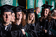 Students line up awaiting to receive their degree during the Commencement ceremony at Ohio University Friday May 2, 2014.  Photo by Ohio University / Jonathan Adams