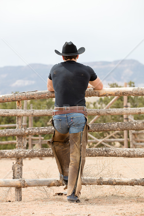 rear view of a cowboy on a ranch in chaps