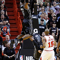 29 January 2012:  Miami Heat small forward LeBron James (6) dunks the ball during the Miami Heat game against the Chicago Bulls at the AmericanAirlines Arena, Miami, Florida, USA.