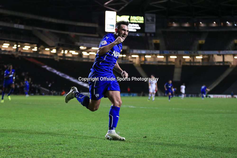 2 January 2015 - FA Cup 2nd Round Replay - MK Dons v Chesterfield - Gary Roberts of Chesterfield celebrates scoring the opening goal - Photo: Marc Atkins / Offside.