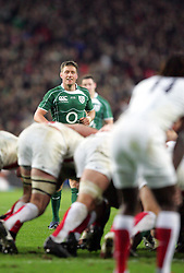 Ronan O'Gara waits for the ball to be released from the scrum during the RBS Six Nations match between Ireland v England, Croke Park, Dublin, Saturday 28th February 2009.