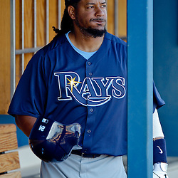 February 25, 2011; Port Charlotte, FL, USA; Tampa Bay Rays left fielder Manny Ramirez (24) during a spring training split squad scrimmage at Charlotte Sports Park.  Mandatory Credit: Derick E. Hingle