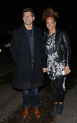 Jason Milligan and Angela Griffin attend launch party of Fuzzy Banter a new dating app which keeps users faces blurry untill they choose to reveal themselves to their matches. Held at La Sala, Chigwell Road, Essex on Monday 16 March 2015