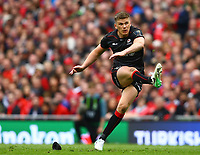 Rugby Union - 2016 / 2017 European Rugby Champions Cup - Semi-Final: Munster vs. Saracens<br /> <br /> Owen Farrell of Saracens kicks a penalty at the Aviva Stadium, Dublin.<br /> <br /> COLORSPORT/KEN SUTTON