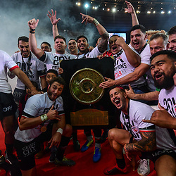 Team of Toulouse celebrates the victory with the trophy during the Top 14 Final match between Toulouse and Clermont at Stade de France on June 15, 2019 in Paris, France. (Photo by Anthony Dibon/Icon Sport)