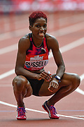 Janieve Russell of Jamaica before the Women's 400m hurdles during the Muller Anniversary Games at the London Stadium, London, England on 9 July 2017. Photo by Martin Cole.