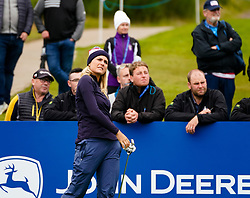 Auchterarder, Scotland, UK. 12 September 2019. Final practice day at 2019 Solheim Cup on Centenary Course at Gleneagles. Pictured; Lexi Thompson watches ball flight on 10th hole. Iain Masterton/Alamy Live News