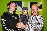 Match sponsor EESI Matchball with man of the match Forest Green Rovers Theo Archibald(18) during the EFL Sky Bet League 2 match between Forest Green Rovers and Cheltenham Town at the New Lawn, Forest Green, United Kingdom on 20 October 2018.