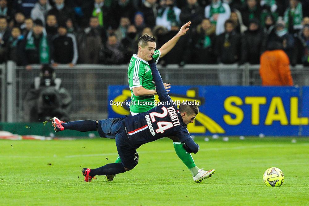 Romain HAMOUMA / Marco VERRATTI - 25.01.2015 - Saint Etienne / PSG - 22eme journee de Ligue1<br /> Photo : Jean Paul Thomas / Icon Sport