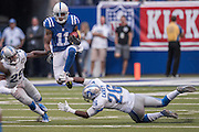 September 11, 2016: Indianapolis Colts wide receiver Quan Bray (11) jumps over Detroit Lions safety Don Carey (26) during the week 1 NFL game between the Detroit Lions and Indianapolis Colts at Lucas Oil Stadium in Indianapolis, IN.  (Photo by Zach Bolinger/Icon Sportswire)