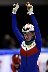 February 9, 2019 - Torino, Italia - Foto LaPresse/Nicolò Campo .9/02/2019 Torino (Italia) .Sport.ISU World Cup Short Track Torino - Ladies 500 meters Final A .Nella foto: Martina Calvepica esulta dopo la vittoria..Photo LaPresse/Nicolò Campo .February 9, 2019 Turin (Italy) .Sport.ISU World Cup Short Track Turin - Ladies 500 meters Final A.In the picture: Martina Valcepina celebrates after winning (Credit Image: © Lapresse via ZUMA Press)