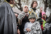 Feb. 24, 2016 - Lesbos, Greece - <br /> Migrants in Mytilene, island of Lesbos, Greece, on February 24, 2016. More than 110,000 migrants and refugees have crossed the Mediterranean to Greece and Italy so far this year, and 413 have lost their lives trying, the International Organization for Migration said on February 23, 2016<br /> ©Exclusivepix Media