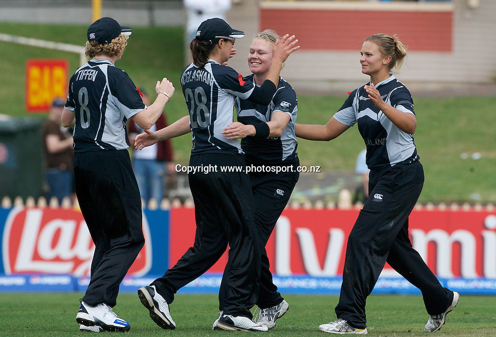 Sydney-March 8: New Zealand players celebrate a wicket during the Australia V New Zealand group A match at North Sydney Oval in the ICC Women's World Cup Cricket Tournament, in Sydney, Australia on March 8, 2009. New Zealand beat Australia by 13 runs in the (D/L method)  rain affected match. Photo by Tim Clayton.