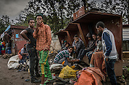 Unemployed or underemployed young men loiter for hours every weekday in the center of Lalibela hoping to work as guides, although there are drug dealers working the street as well.  According to the UNDP, 80% of Ethiopia's workforce are employed in the agriculture sector.  25% of households are headed by women.  The urban unemployment rate is officially 17.5% but there are no figures for rural unemployment rates.  The Ethiopian Highlands.