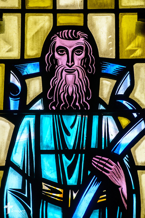 Stained glass at Luther Memorial Chapel depicts St. Matthew on Friday, Jan. 29, 2016, in Shorewood, Wis. LCMS Communications/Erik M. Lunsford