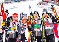 02.03.2019, Seefeld, AUT, FIS Weltmeisterschaften Ski Nordisch, Seefeld 2019, Nordische Kombination, Langlauf, Team Bewerb 4x5 km, im Bild Franz-Josef Rehrl (AUT), Lukas Klapfer (AUT), Mario Seidl (AUT), Bernhard Gruber (AUT) // Franz-Josef Rehrl of Austria Lukas Klapfer of Austria Mario Seidl of Austria Bernhard Gruber of Austria during the Cross Country Team competition 4x5 km of Nordic Combined for the FIS Nordic Ski World Championships 2019. Seefeld, Austria on 2019/03/02. EXPA Pictures © 2019, PhotoCredit: EXPA/ Stefanie Oberhauser