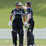 Suzie Bates is congratulated by Haidee Tiffen after reaching her century during the match between New Zealand and Pakistan in the Super 6 stage of the ICC Women's World Cup Cricket tournament at Drummoyne Oval, Sydney, Australia on March 19, 2009. New Zealand won the match by 223 runs. Photo Tim Clayton