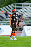 KELOWNA, BC - AUGUST 17:  Adam Burton #11 of Okanagan Sun stands on the field against the Westshore Rebels at the Apple Bowl on August 17, 2019 in Kelowna, Canada. (Photo by Marissa Baecker/Shoot the Breeze)