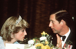 Prince Charles, Prince of Wales talks with Diana, Princess of Wales in New Zealand, April 1983.<br /> Anwar Hussein/EMPICS Entertainment