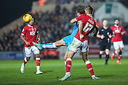 Wolverhampton Wanderers Grant Holt grapples with Bristol City's Nathan Baker during the Sky Bet Championship match between Bristol City and Wolverhampton Wanderers at Ashton Gate, Bristol, England on 3 November 2015. Photo by Shane Healey.