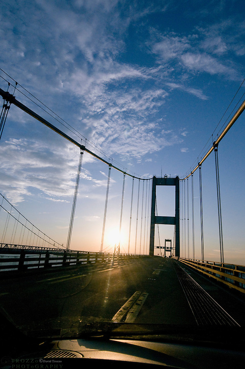 Dirty windshield crossing the Chesapeake Bay Bridge