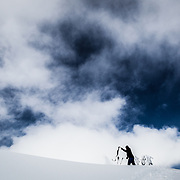 Owen Dudley pulls his skin in the Mount Baker backcountry Washington.