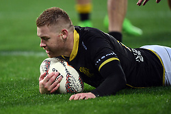 Wellington's Regan Verney scores against Canterbury in the Mitre 10 Rugby match at Westpac Stadium, Wellington, New Zealand, Sunday September 17,, 2017. Credit:SNPA / Ross Setford  **NO ARCHIVING**