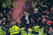 GOAL 1-1 Arsenal forward Gabriel Martinelli (35) scores (not in picture) and the Arsenal fans, supporters celebrate, let off a flare, during the Premier League match between Chelsea and Arsenal at Stamford Bridge, London, England on 21 January 2020.