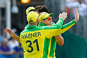 Wicket - Steven Smith of Australia celebrates running out Mohammad Nabi of Afghanistan during the ICC Cricket World Cup 2019 match between Afghanistan and Australia at the Bristol County Ground, Bristol, United Kingdom on 1 June 2019.