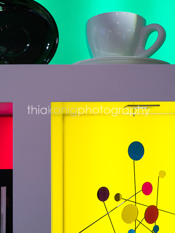 Abstract detail of gift store display, Fundacio Joan Miro, Miro Art Museum, Barcelona, Spain.