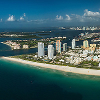 Aerial view of South Beach viewed from the east showing 5th street to South Pointe.