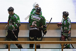 Anze Ropret, Ales Sila, Bostjan Groznik and Andrej Hebar of Olimpija during ice hockey match between HDD Telemach Olimpija and HDD SIJ Acroni Jesenice at Winter Classic of HDD Telemach Olimpija called Pivovarna Union Ice Fest 2014, on December 18, 2014 on Republic Square, Ljubljana, Slovenia. (Photo By Matic Klansek Velej / Sportida.com)
