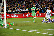 June 23, 2010; Pretoria, SOUTH AFRICA; USA midfielder Landon Donovan (10) scores the winning goal in stoppage time against Algeria during Group C play in the 2010 World Cup at Loftus Versfeld Stadium.