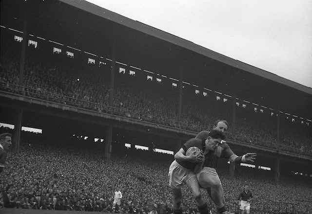 All Ireland Senior Football Final Down vs Kerry..P. O'Hogan, Down forward, holds on to the ball. .25.09.1960..