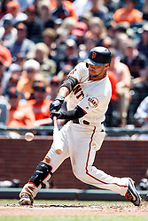 SAN FRANCISCO, CA - MAY 25: Gregor Blanco #7 of the San Francisco Giants hits a triple against the San Diego Padres during the sixth inning at AT&T Park on May 25, 2016 in San Francisco, California.  (Photo by Jason O. Watson/Getty Images) *** Local Caption *** Gregor Blanco