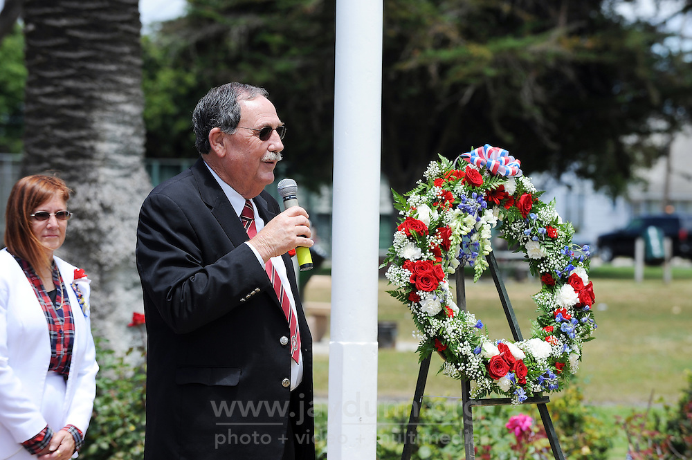 Mayor Joe Gunter speaks during a Memorial Day ceremony on Monday at the World War II Memorial Rose Garden in Salinas.