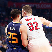 25 March 2016: LA Clippers forward Blake Griffin (32) posts up Utah Jazz guard Raul Neto (25) during the Los Angeles Clippers 108-95 victory over the Utah Jazz, at the Staples Center, Los Angeles, California, USA.