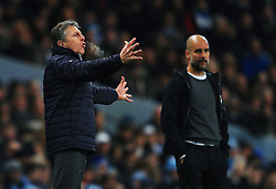 Leicester City manager Claude Puel gestures ahead of Manchester City manager Pep Guardiola - Mandatory by-line: Matt McNulty/JMP - 10/02/2018 - FOOTBALL - Etihad Stadium - Manchester, England - Manchester City v Leicester City - Premier League