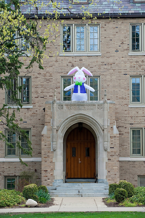 An inflatable Easter bunny appears atop the Farlen Hall dormitory on the University of Notre Dame campus. (Sam Lucero photo)